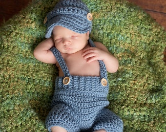 Oliver Newsboy Cap with Crochet Baby Shorts/Pants with Suspenders in Stonewash Available in Newborn to 12 Month Size- MADE TO ORDER