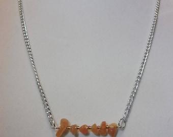 Red Aventurine Gemstone Bar Necklace | Red Aventurine Necklace | Gemstone Necklace