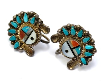 Vintage sterling silver signed Zuni turquoise coral sun face screwback earrings