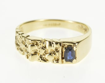 10k Sapphire Squared Textured Abstract Nugget Ring Gold