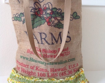 Kona Coffee Burlap Market Tote/ Beach Bag/ Handbag/ Burlap Bag