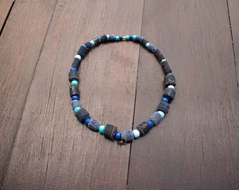Denim Textile and wood beads necklace