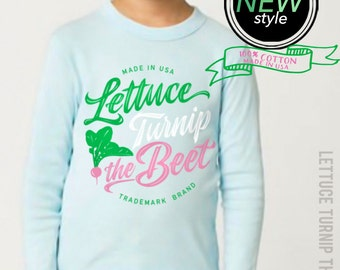 SALE lettuce turnip the beet ® - trademark brand OFFICIAL SITE - pale blue long sleeve cotton shirt - food, funny, vegan, vegetarian, garden