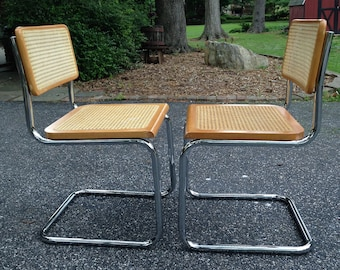 2 Vintage 1970's Mid Century Modern STYLE- Marcel Breuer Cesca Cantilever CHAiR -ONE piece Tubular Chrome Cane VERY NiCE Italy - you get two