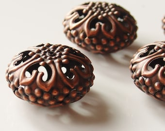 23mm Iron Hollow Spacer Filigree Beads with Copper Finish - Nickel Free - 6 Pieces -  E060Y-NFR