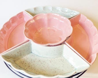 Pink and Gray Speckled Relish Tray - 1950s Atomic Ranch Lazy Susan - Ceramic and Metal