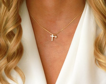 Tiny Gold Religious Necklace | Confirmation Gift Necklace | Small Gold Cross Necklace | Tiny Gold Cross Necklace | Tiny Cross Charm Necklace