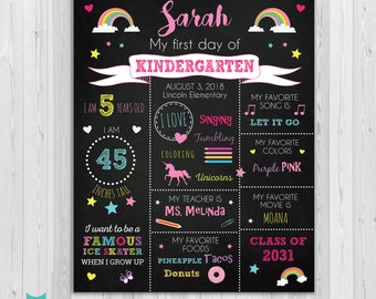 First day of Kindergarten sign, First day of school sign, Girls Rainbow School Chalkboard poster, 1st day Back to School Sign Printable