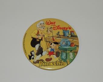 "VTG Walt Disney Pinocchio 3 1/2"" Advertising Button"