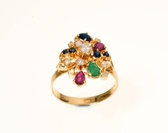 Cocktail ring, 18k Gold ring, Diamond gold ring, Ruby ring, Multigemstone ring, Multigem ring, Precious stone ring, Gold cocktail ring