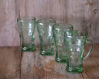Vintage Coca Cola Glasses, Coke Mug Retro Coke Glass Fountain Glasses Green Coke Glass Drinking Glasses Libby Glass Embossed Coca Cola Mugs