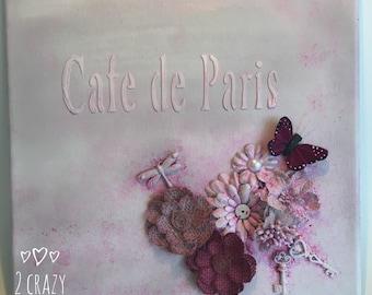 "Cafe de Paris ""Shabby Chic"" mixed media canvas"