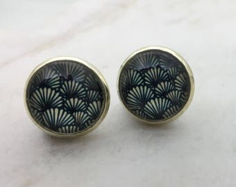 Black fan glass dome stud earrings. 14mm with surgical steel and nickel free posts