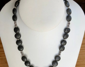 Lava Rock Necklace with Bali Sterling Silver Spacers 17 inches