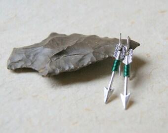 Emerald Green Wire Wrapped Silver Arrow Earrings