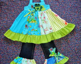 Lily Pad Frog Back to School Outfit 2T-7 Girls Boutique Top Blouse Jeans Pants