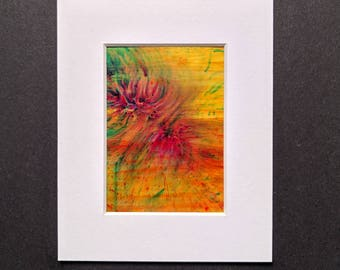 Original ACEO abstract artwork 'Tropical' series #4 Yorkshire artist