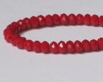 3 x 2 mm Small Opaque Red Faceted Glass Rondelle (Qty 60)  90-6-201