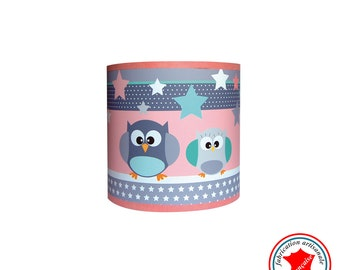 """Child lamp Wall lamp """"The owls see life in pink and green"""""""