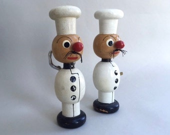 Pair of Adorable Chef Painted  Wood Bar Tools
