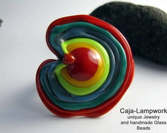 Ring top, change attachment, big change-top, red-colorful, Lampwork