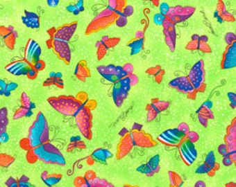 Laurel Burch Fabric Butterflies Lime Flying Colors II 1/2 Yard