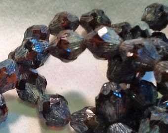 Czech Glass 13x11mm Baroque Bicone Bead in Topaz with Picasso Finish (15)