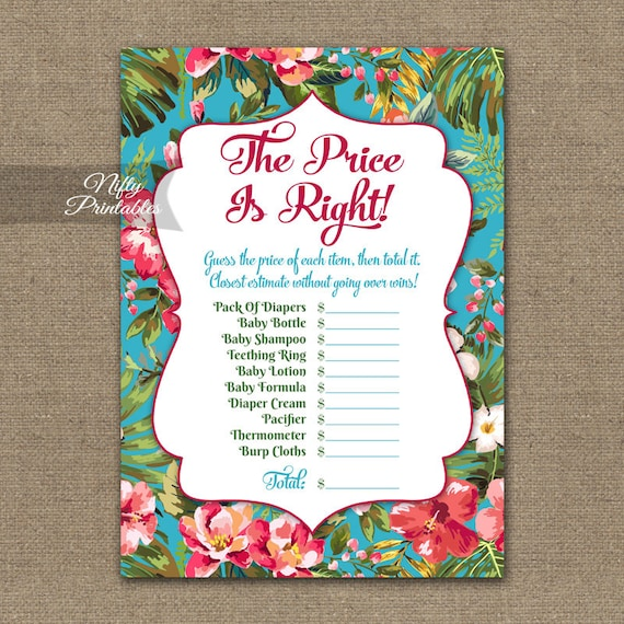 Price Is Right Baby Shower Game   Hawaiian Baby Shower Game   Tropical Luau  Neutral Price Is Right Game   Printable Instant Download TRP