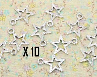 10 charms, hollowed Center 15mm silver-plated