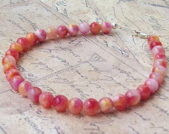 Jade Bracelet, tropical, pink, red, yellow, orange, citrus fruit, sterling silver, gemstone bracelet, stacking bracelet, beaded