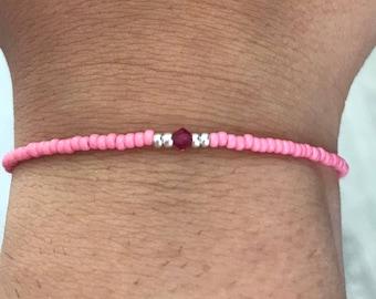 Pink Swarovski/miyuki bracelet, swarovsk8 beacelet, miyuki bracelet, pink bracelet, Christmas present, boho bracelet, bridesmaids gift, baby