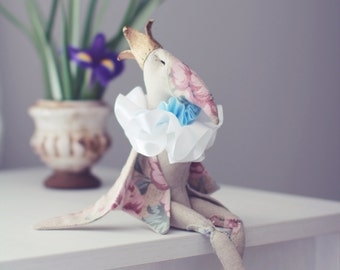 Ooak art doll, soft toy, hand made display item.
