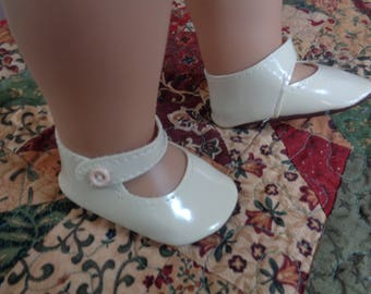 "White Mary Jane Doll Shoes for 18"" Dolls- Fits American Girl Dolls"