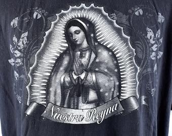 Old School Cholo T-Shirt, Nuestra Señora de Guadalupe, Size XL, 100% Cotton