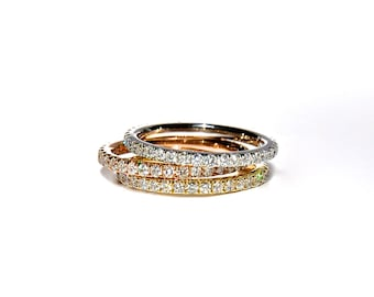 18k Pave Diamond Eternity Stacking Band/ Ring