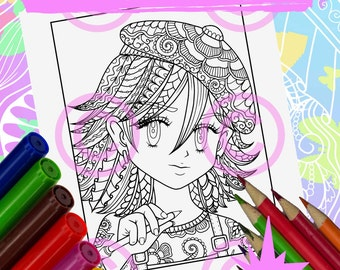 Anime Doodle Girl Coloring Page for Adult Coloring Artist Girl in anime Tangle style