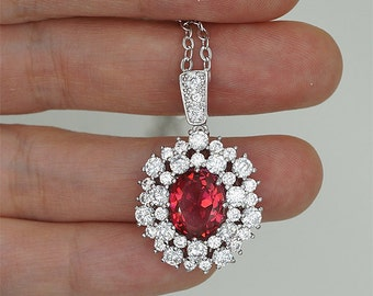 Mother of Brides Necklace Ruby Red Necklace Crystal Bridal Necklace Hot Pink Crystal Necklace Ruby Crystal Pendant Necklace gift for her