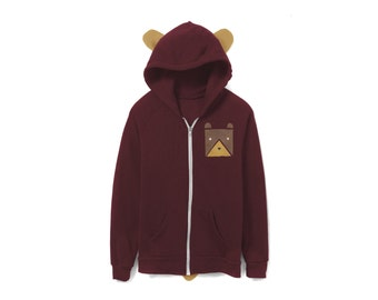 Geo Bear Hoodie - Fleece Hooded Zip Sweatshirt with Ears and Tail in Maroon - Unisex Size XS-2XL