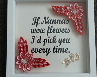 Box frame quote with kanzashi flowers