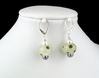 Drop dangle lampwork earrings Green polka dot Lever back Handcrafted Sterling silver Grey ivory glass pearl beads ear wires