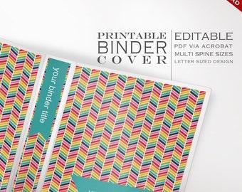 Binder Cover - Printable Editable Rainbow Chevron Theme Instant Download - Multiple Spine Sizes - Organization Classroom Homeschool