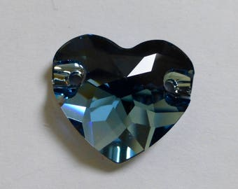 Vintage Swarovski Heart Faceted Crystal Sew On Stone in Denim Blue 16mm or 12mm (2)