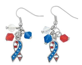 Patriotic Ribbon Flag Earrings