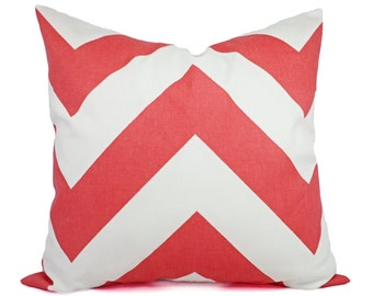 Two Coral and White Chevron Decorative Throw Pillow Covers - Coral Couch Pillow Cushion Cover - Accent Pillow - Coral Pillow Cover