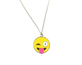 Crazy Tongue Winking Enamel Emote Face Charm Necklace