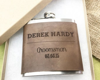 Personalized Flask Mens Gift Flask Groomsmen Gift for Men Groomsmen Flask Engraved Flask Personalized Leather Flask Wedding Party Favor