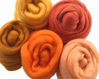 Merino Sampler Pack, Orange Yellow and Gold tones, wool for spinning or felting, 4 ounces +.