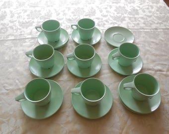 MELAMINE Green Arrowhead Cups and Saucers