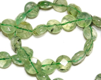 Prehnite faceted coins.  Approx.10mm.   Select a quantity.