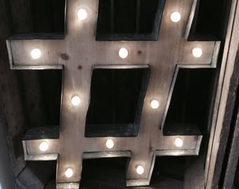 Rustic Barn Style Giant Wooden LED Light up Hashtag #